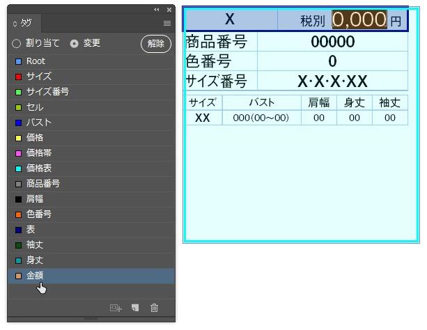 InDesign:表内の文字(洋服のサイズ表)にXMLタグをつける
