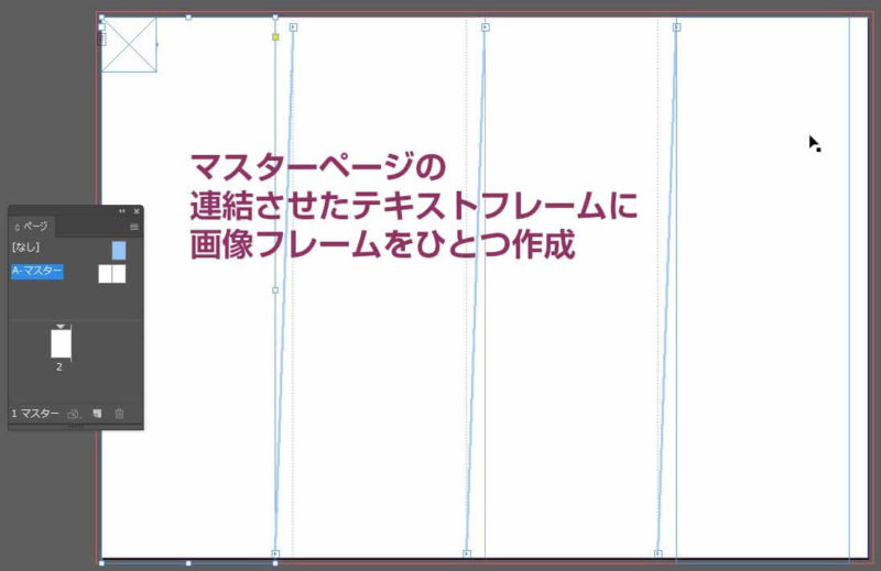 マスターページに作成した画像フレーム入りのテキストフレーム