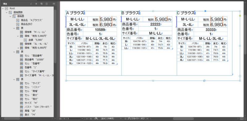 InDesignにXMLを読み込んだ結果