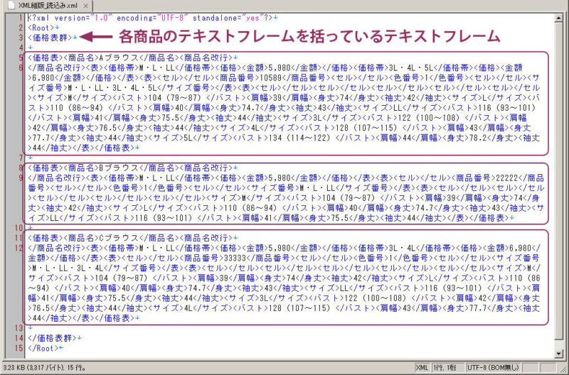 InDesignのプレースホルダに読み込むXMLデータ