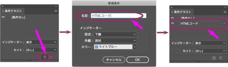 InDesignの条件テキストパネルで「HTMLコード」という名前の条件を作成する