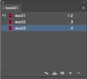 ExtendScriptでInDesignブックが作成されドキュメントが追加されたブックパネル