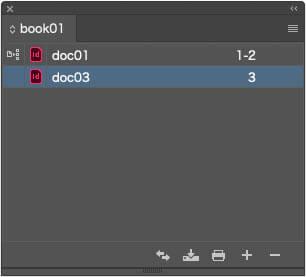 ExtendScriptでInDesignブックからdoc02のドキュメントを削除したブックパネル