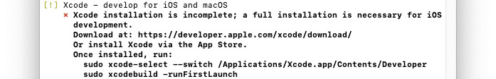 Flutterdoctorの実行画面(Xcodeのインストールが不完全)