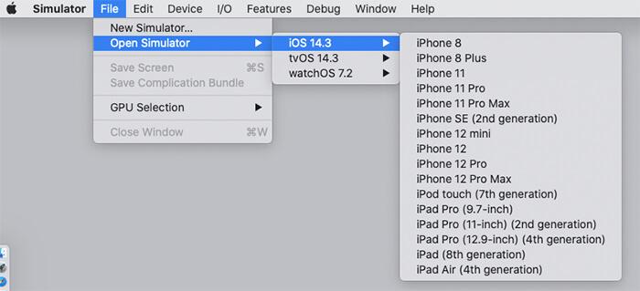 Xcode:SimulatorのメニューからiOSを選ぶ