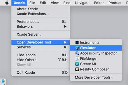XcodeのメニューからSimulatorを立ち上げる