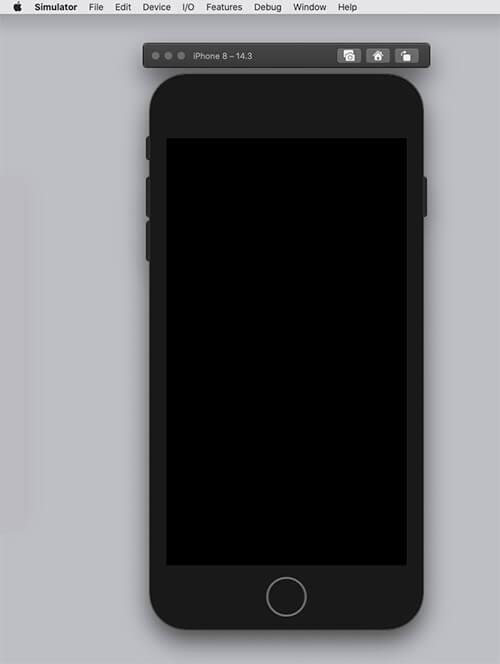 simulatorでiPhoneを表示した初期画面