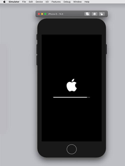 simulatorでiPhoneを立ち上げているアップルマーク