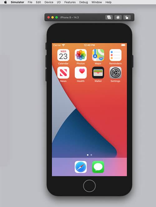 simulatorでiPhoneの画面を表示