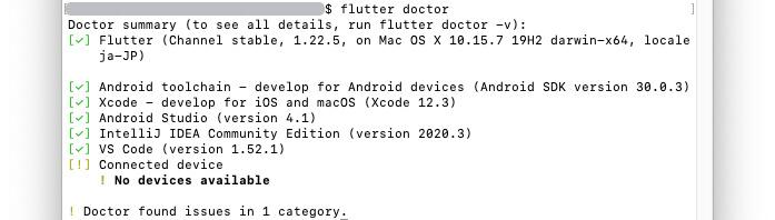 FlutterDoctorでのチェック終了