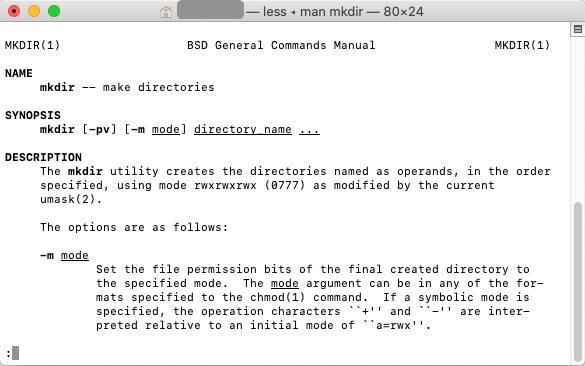 Macのターミナルでmkdirのマニュアルを表示する