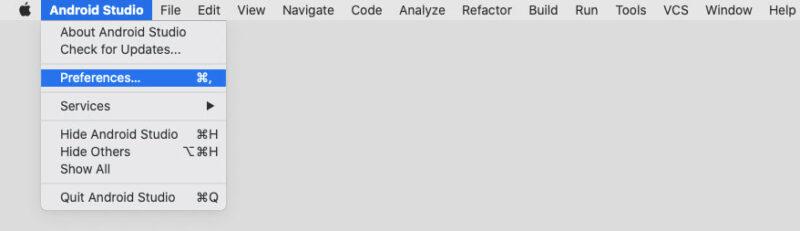 AndroidStudioのメニューバーからPreferencesを選択