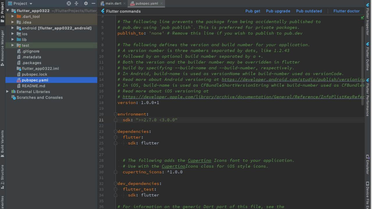 pubspec.yamlをAndroid Studioで表示