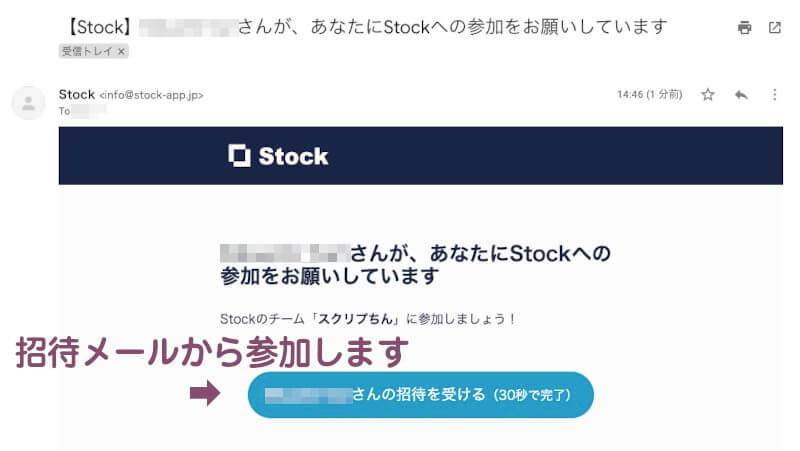 Stockから届いた招待メール