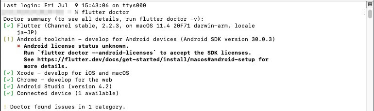 flutter doctorで表示されたAndroid license status unknown