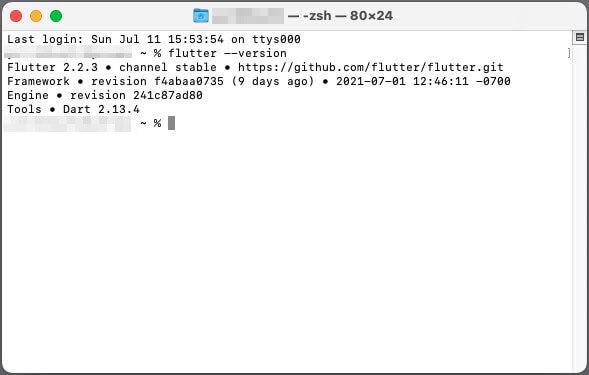 ターミナルでflutterコマンドを実行してPATHが通っているか確認する