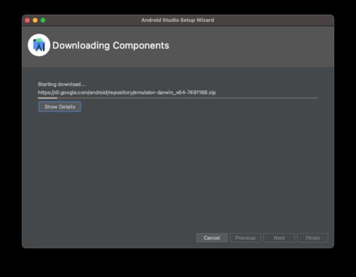 Android Sudioのダウンロード進捗具合の表示画面